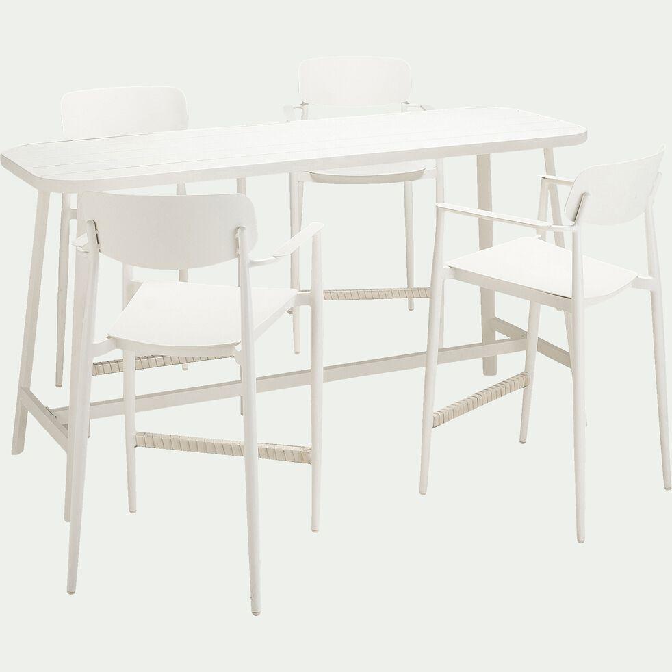 Chaise de bar en aluminium empilable - blanc-DOMINGOS