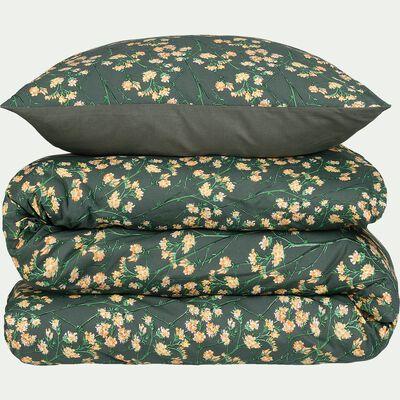 Housse de couette en coton 240x200cm et 2 taies d'oreillers avec motif fleuri-FLEURI