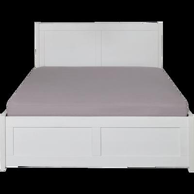 Lit 2 places avec tête de lit en pin massif Blanc - 160x200 cm-LISON