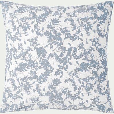 Housse de couette en coton 140x200cm et 2 taies d'oreillers bleus avec motifs feuilles-GRAMINEE