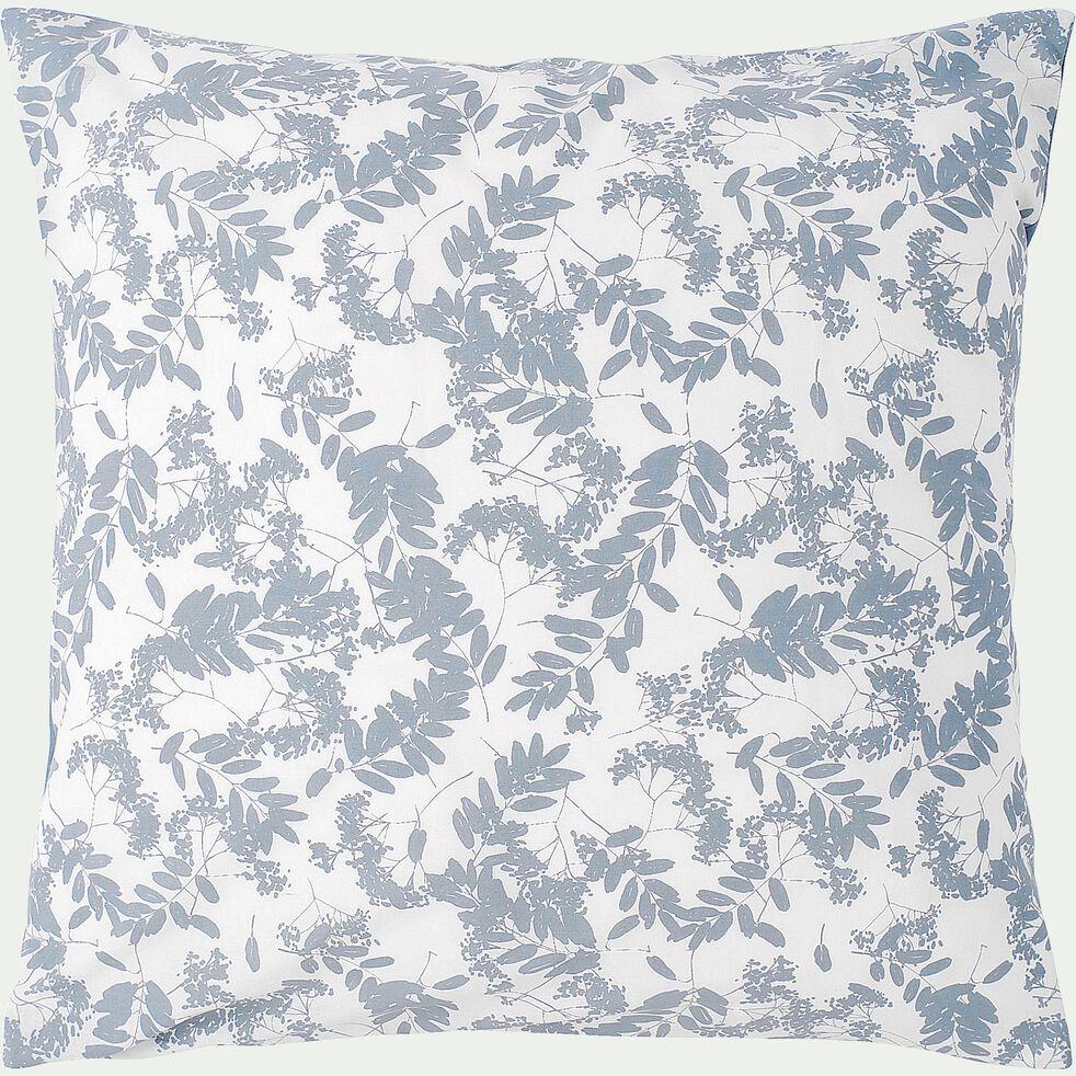 Housse de couette 140x200cm et 2 taies d'oreiller bleu motif floral-GRAMINEE