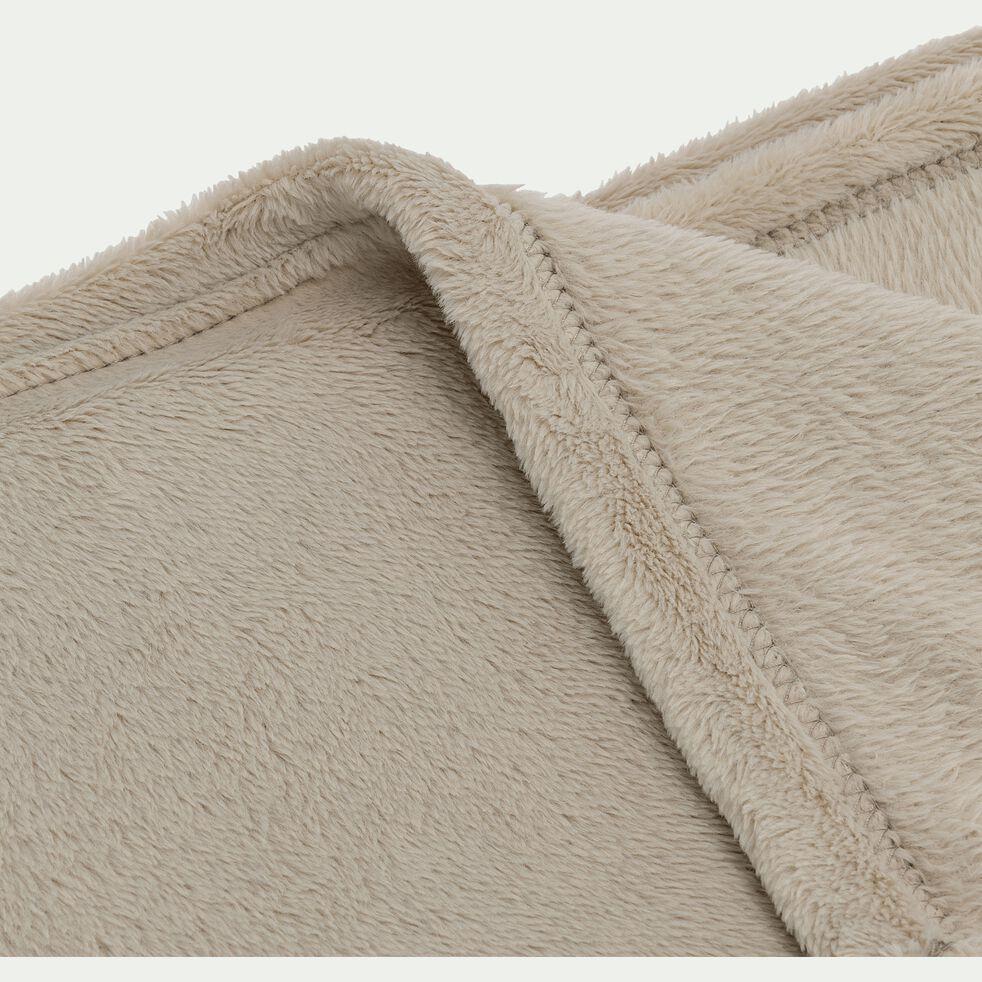 Plaid effet polaire en polyester - beige alpilles 130x170cm-ROBIN
