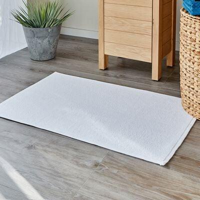 Tapis de bain bouclette en coton - blanc capelan 50x70cm-CALADE