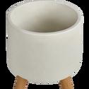 Cache-pot en pierre et bois H42xD31cm-TAMARIS