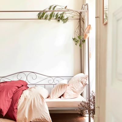 Drap housse en coton lavé sable rose 90x170 cm-CALANQUES