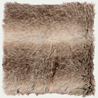 Coussin imitation fourrure en acrylique - marron 45x45cm-LOUP