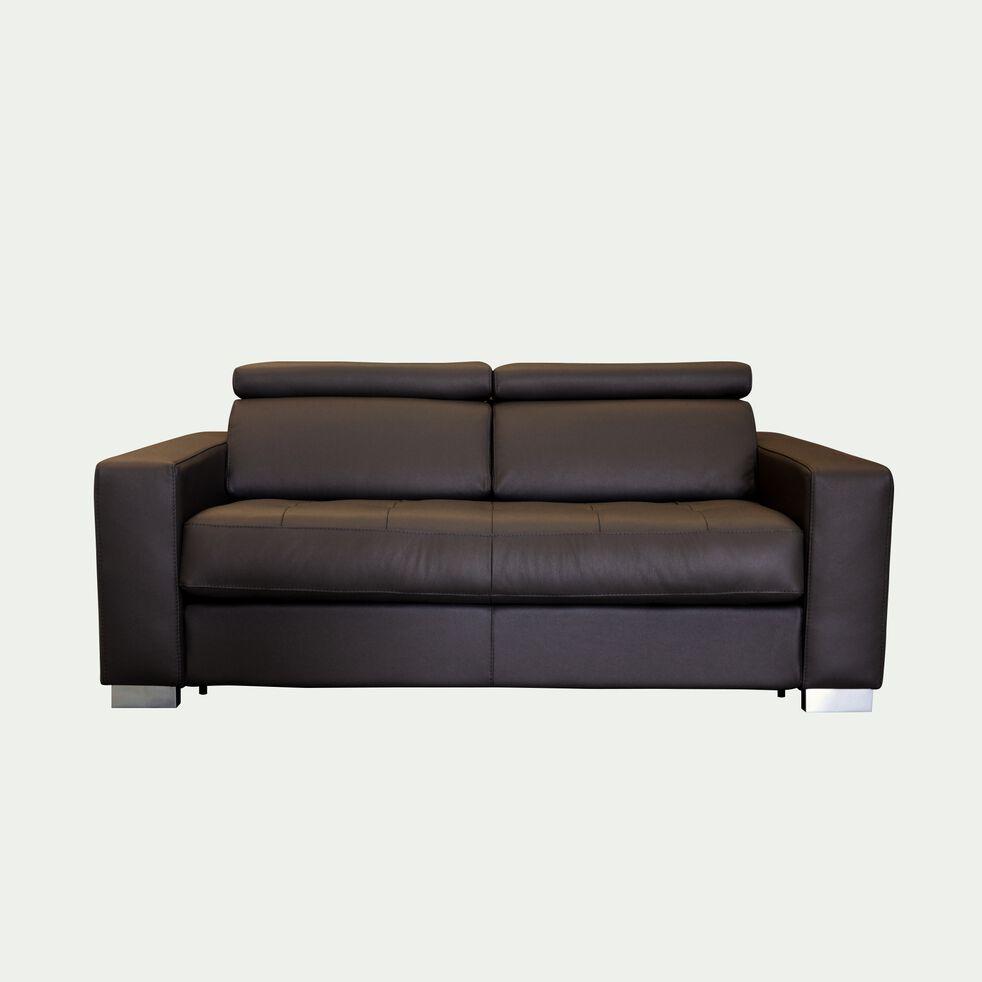 Canapé 2 places fixe en cuir avec accoudoir 20cm - marron-MAURO