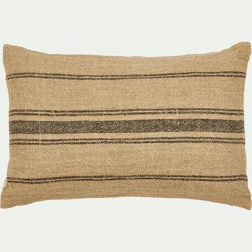 Coussin à rayures en lin - naturel et noir 30x50cm-OASIS
