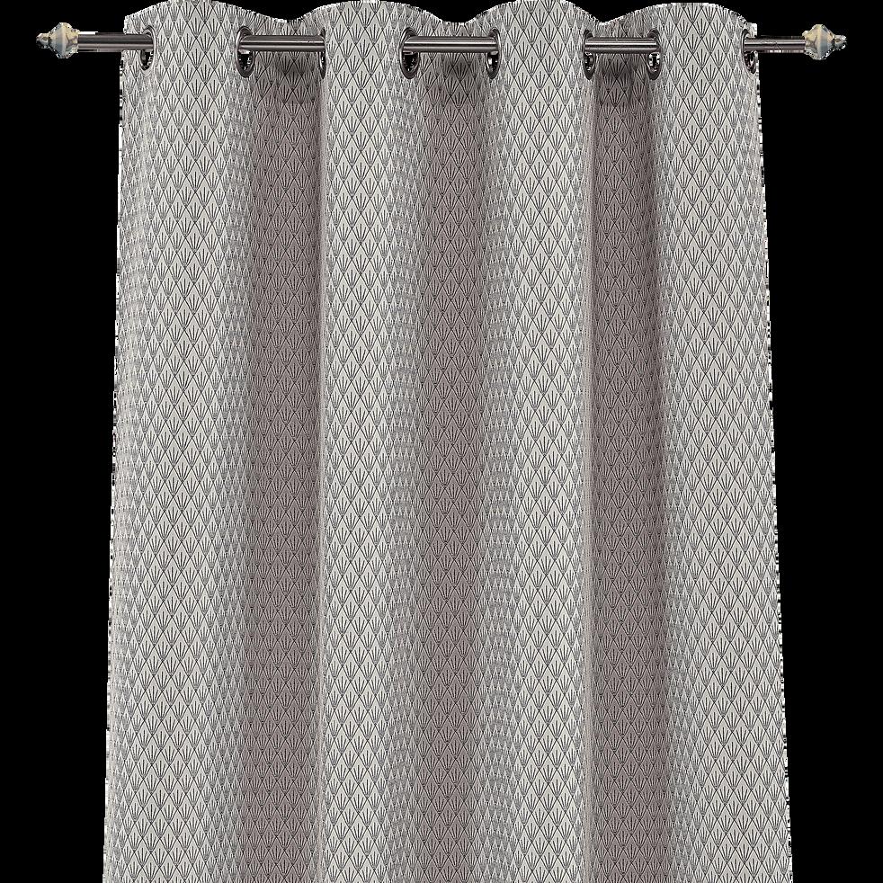 Rideau à œillets gris 140x250cm-SAPHIR