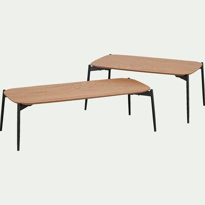 Ensemble de 2 tables basses gigognes plaquées chêne-CALENDE