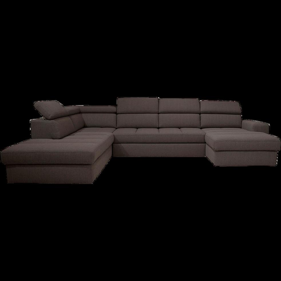 nouveau concept 4002a 59e62 TONIN - Canapé d'angle en forme de u convertible en tissu gris anthracite  avec méridienne à droite