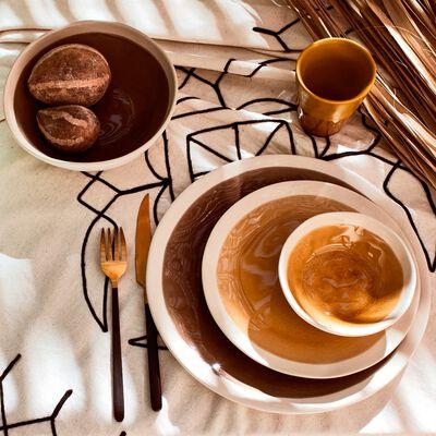 Assiette dessert en grès jaune et blanc D21cm-KARNAK