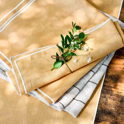 Gamme de linge de table en lin et coton beige nèfle-MILA