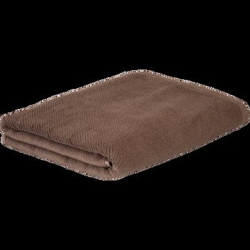 Drap de bain en coton bio 90x150cm brun châtaignier-COLINE