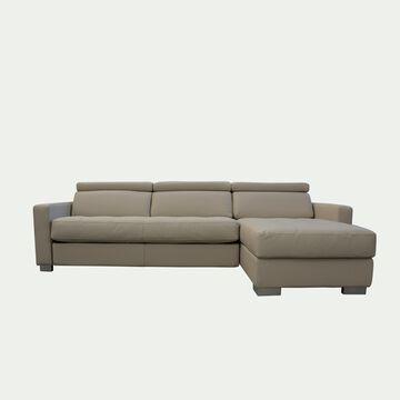 Canapé 4 places fixe en cuir avec angle reversible et accoudoir 15cm - beige-MAURO