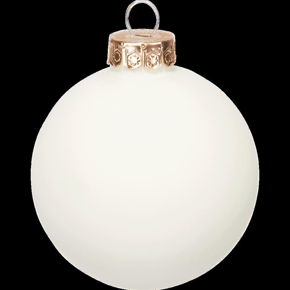 10 boules de Noël en verre blanc D6cm-BOCCA