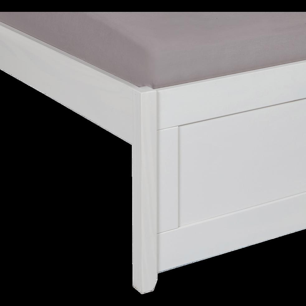 Lit 2 places avec tête de lit en pin massif Blanc - 140x200 cm-LISON