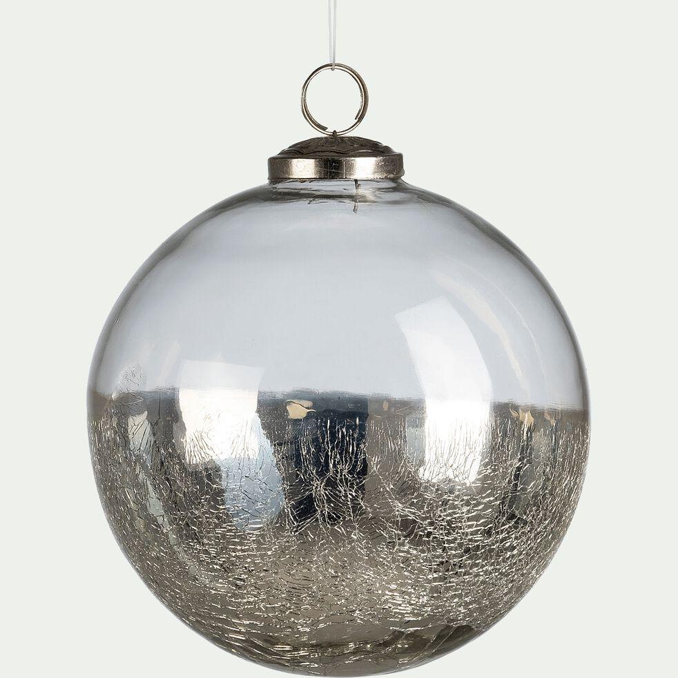 Boule de Noël en verre argenté D12,5cm   BREMONT   boules et