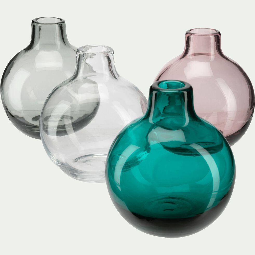 Vase rond en verre bleu niolon H11 cm-TAPHOS