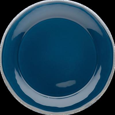 Assiette plate en faïence bleu figuerolles D27cm-LUBERON