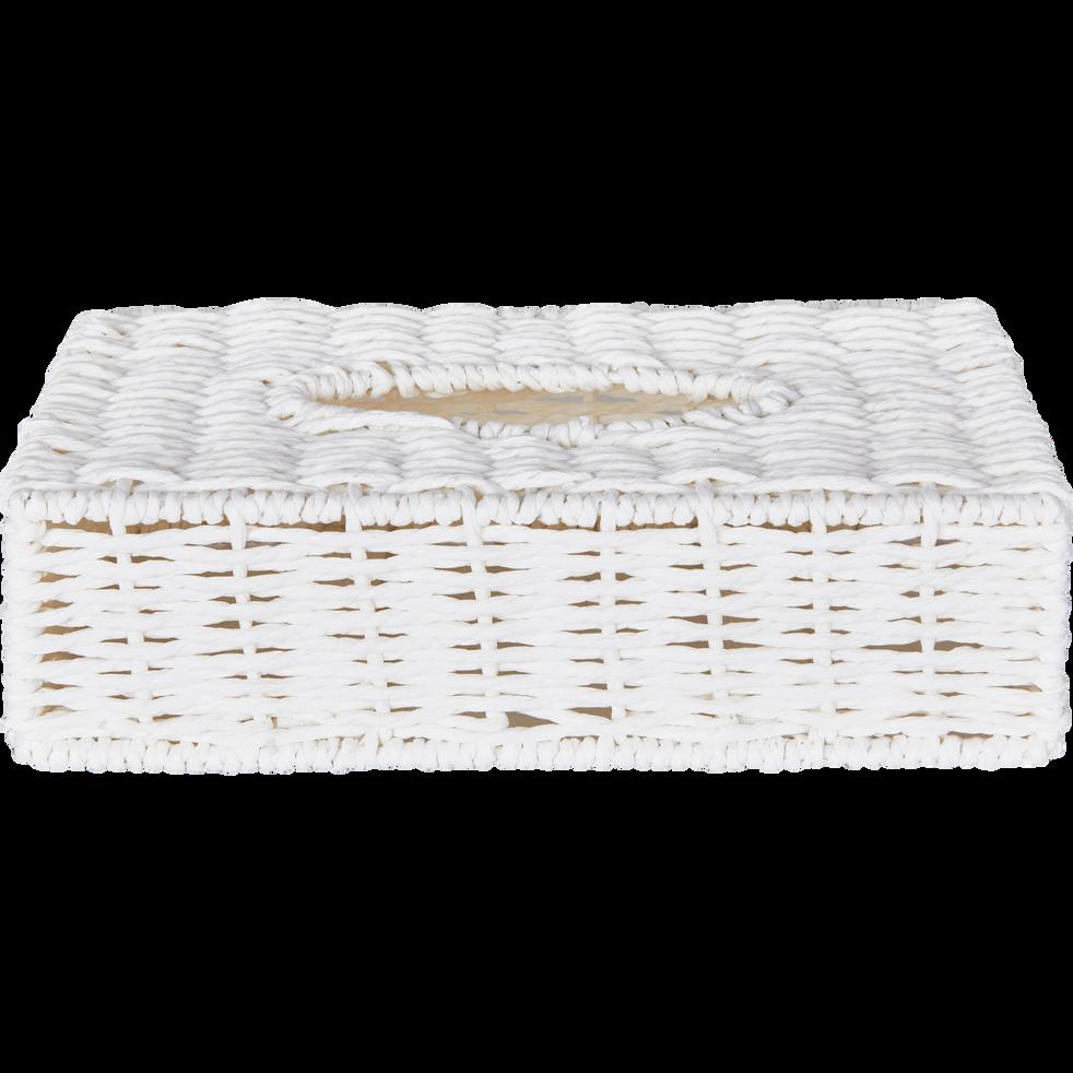 Boite mouchoirs blanche rectangulaire en papier tressé-REGATE