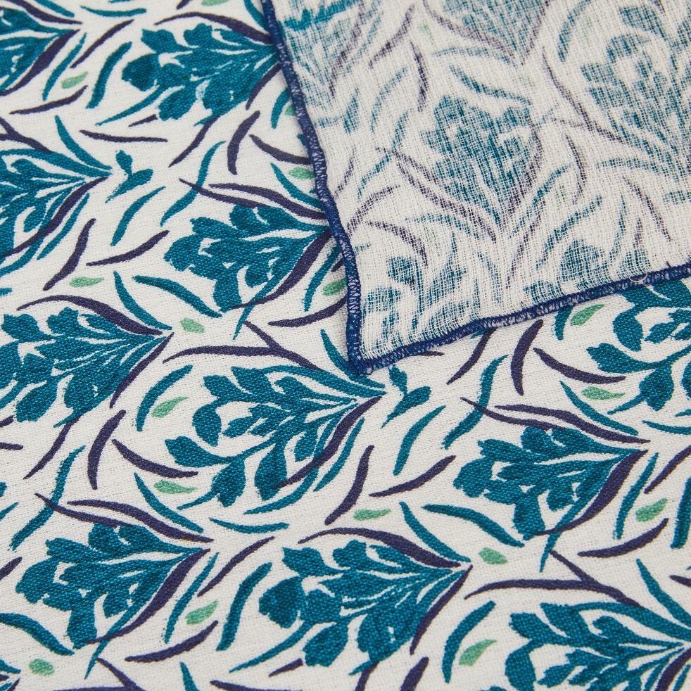 Plaid motif floral en coton - bleu niolon 130x170cm-AMPHORES