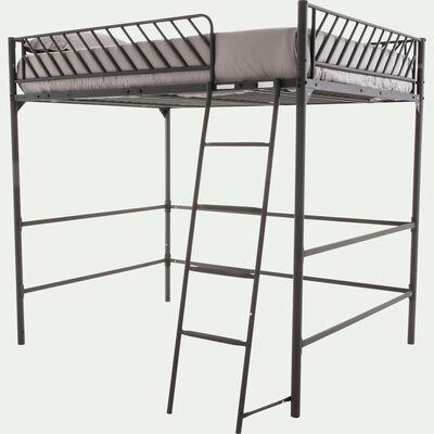 Lit mezzanine 2 places en métal noir - 140x190 cm-SLASH