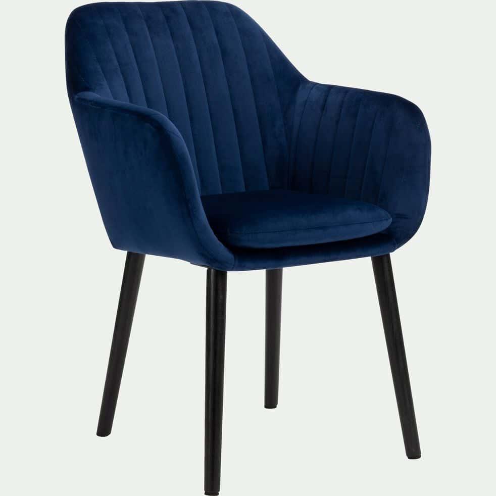 Chaise capitonnée en velours  avec accoudoirs - bleu figuerolles-SHELL
