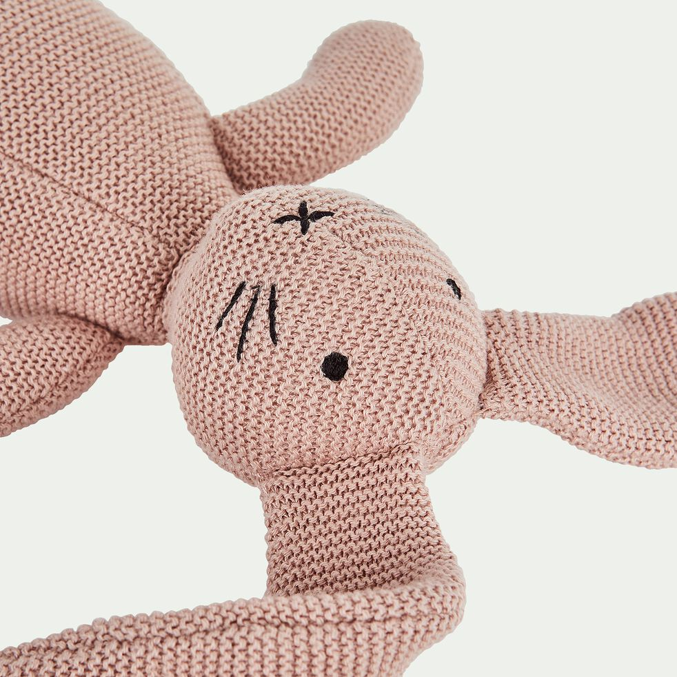 Peluche lapin pm en coton bio - rose-Rafy