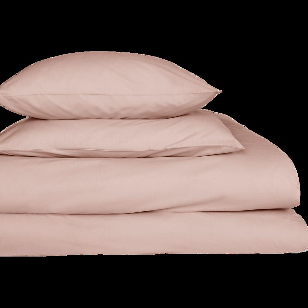 Lot de 2 taies d'oreiller en percale de coton Rose argile 50x70cm-FLORE