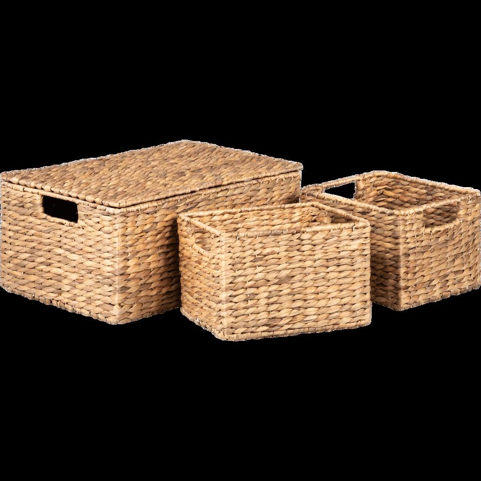lot de 3 caisses de rangement en jonc abbadia bo tes. Black Bedroom Furniture Sets. Home Design Ideas