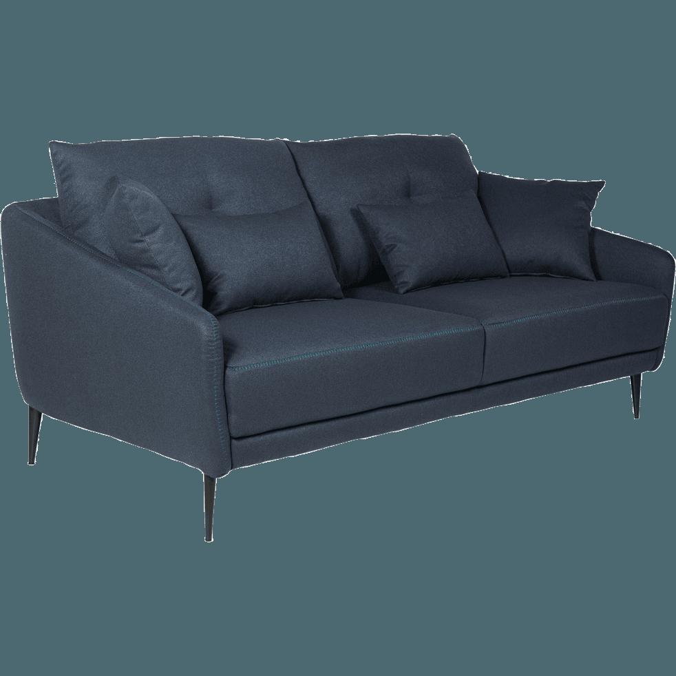 Canapé 3 places fixe en tissu bleu myrte-DOME