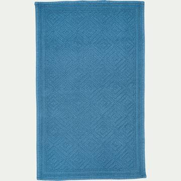 Tapis de bain surpiquage losanges en coton - bleu figuerolles 60x100cm-SADOU