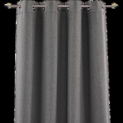 Rideau à œillets gris 140x250cm-ISERAN
