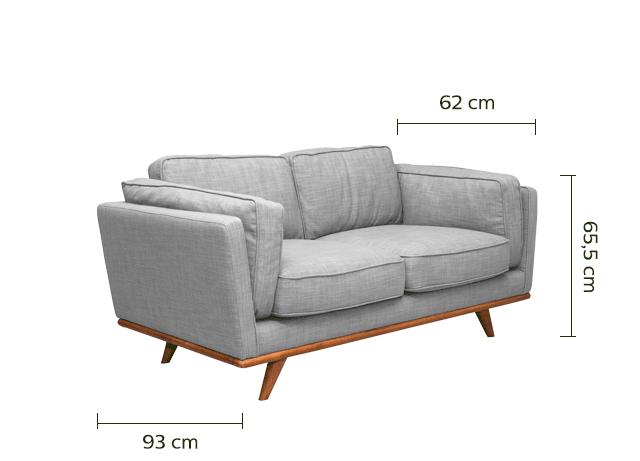 Canapé 2 places fixe en tissu gris chiné clair - ASTORIA ...