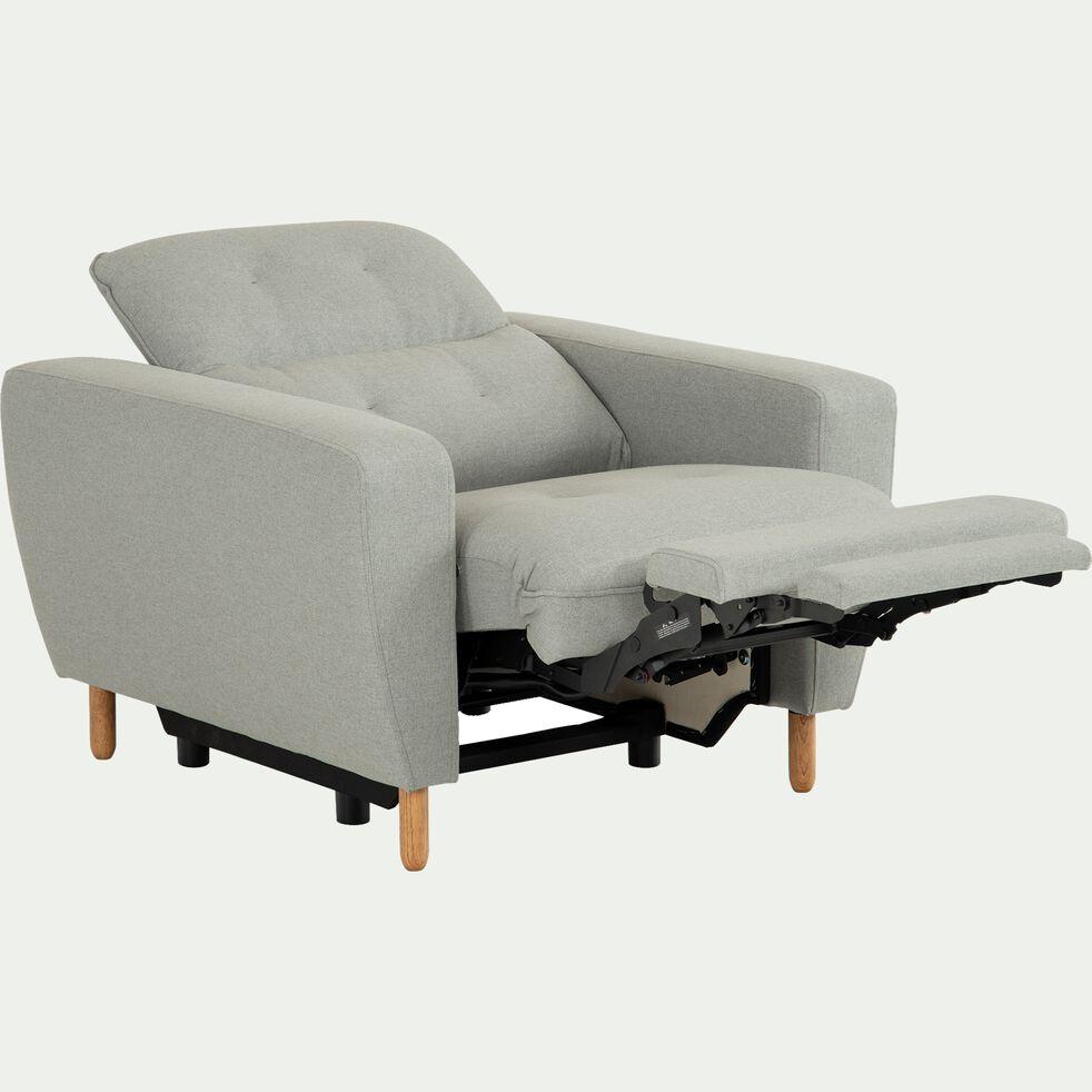 Fauteuil relax en tissu avec têtière réglable et repose pieds - gris clair-ODYS