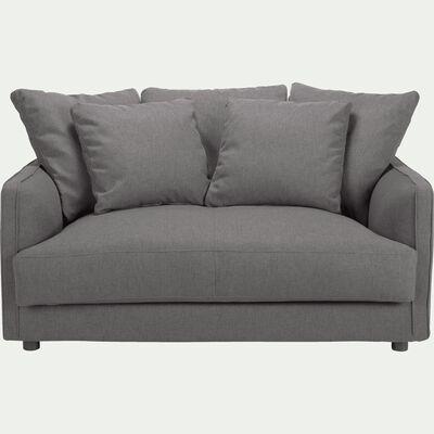 Canapé 2 places fixe en tissu gris borie-LENITA