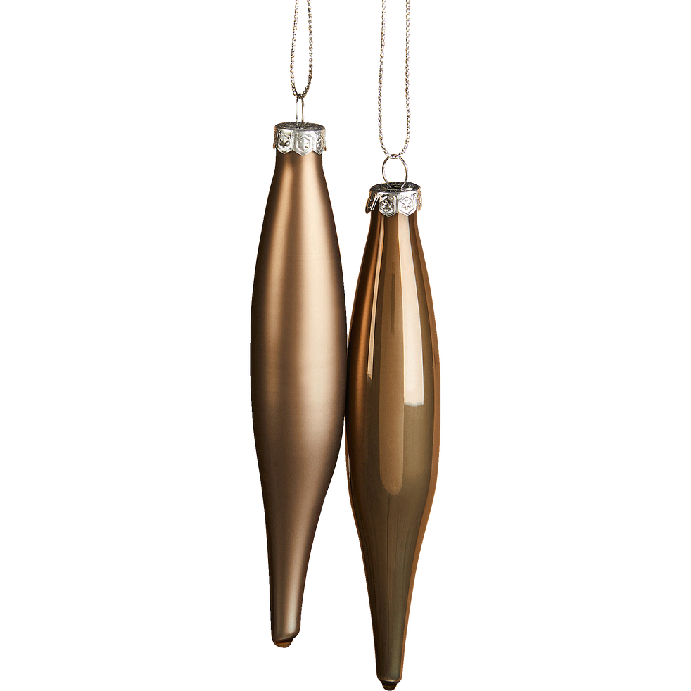 Boite de 6 stalactites en verre H15cm brun cashmère-ESTEPHE
