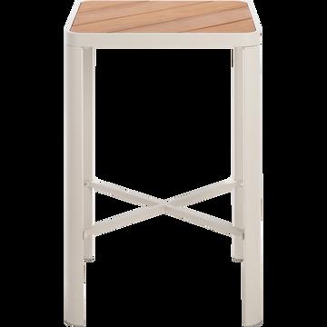 Table haute carrée en métal gris clair (2 places)-ALEP