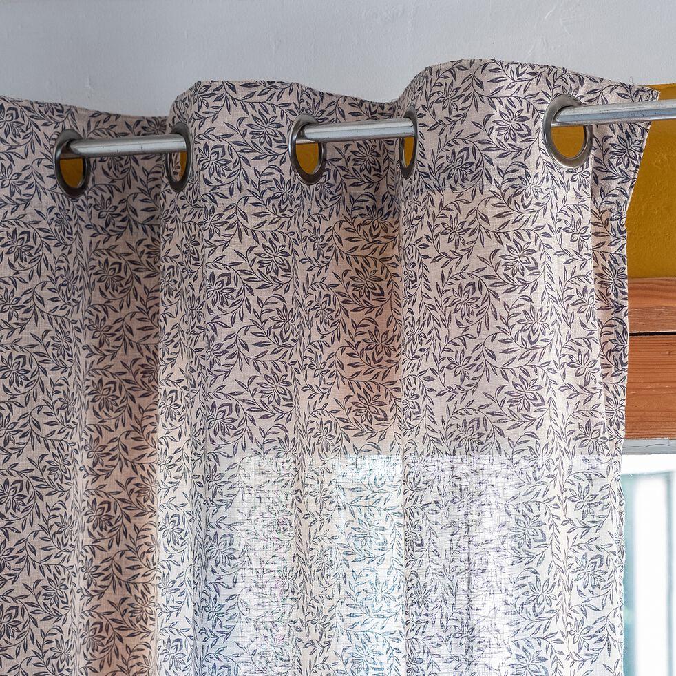Voilage à œillets en coton et polyester motif Jasmin - bleu foncé 140x250cm-JASMIN