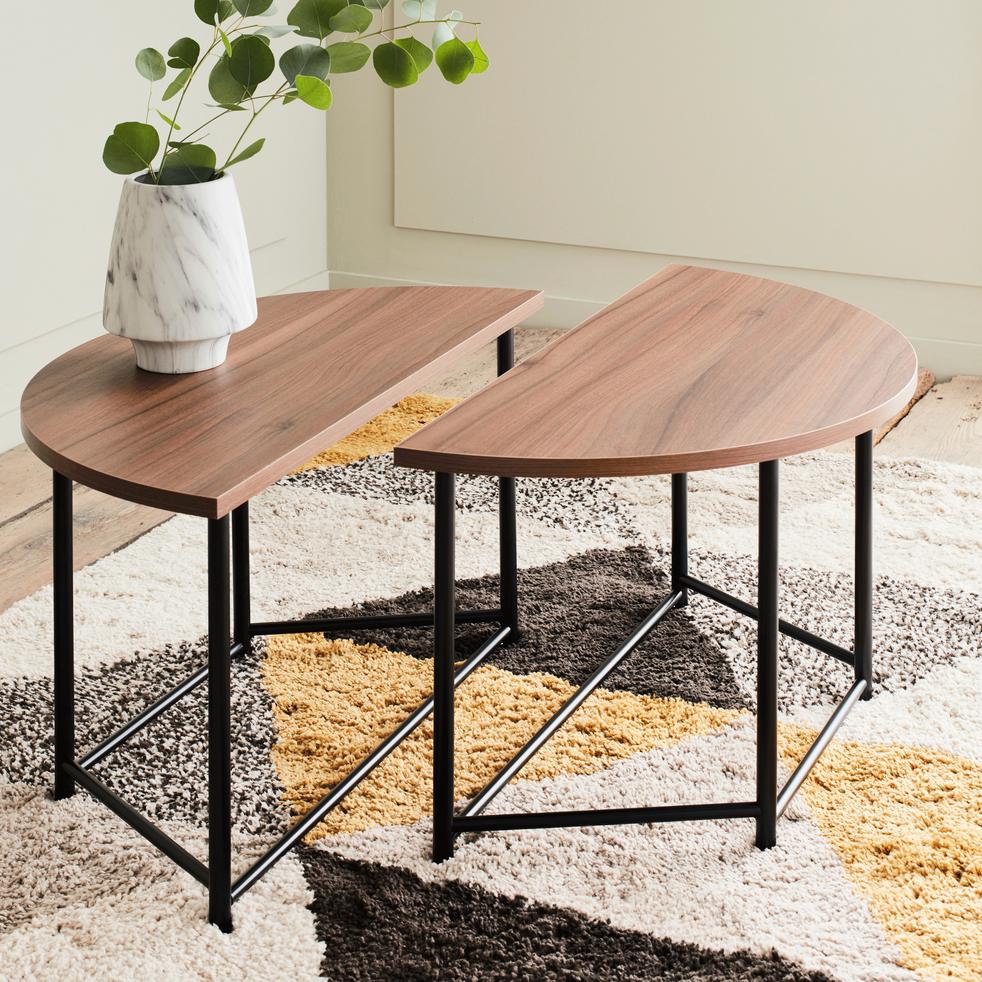 table basse ronde modulable coloris noyer agiero. Black Bedroom Furniture Sets. Home Design Ideas
