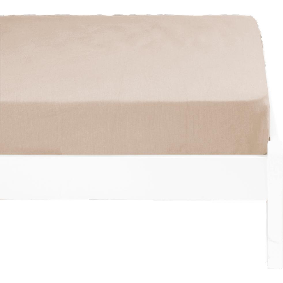Drap housse lin lavé 90x170 cm beige roucas-VENCE