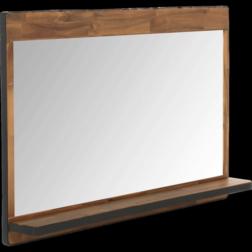 Kota - Miroir rectangulaire de salle de bains en acacia et métal 120cm