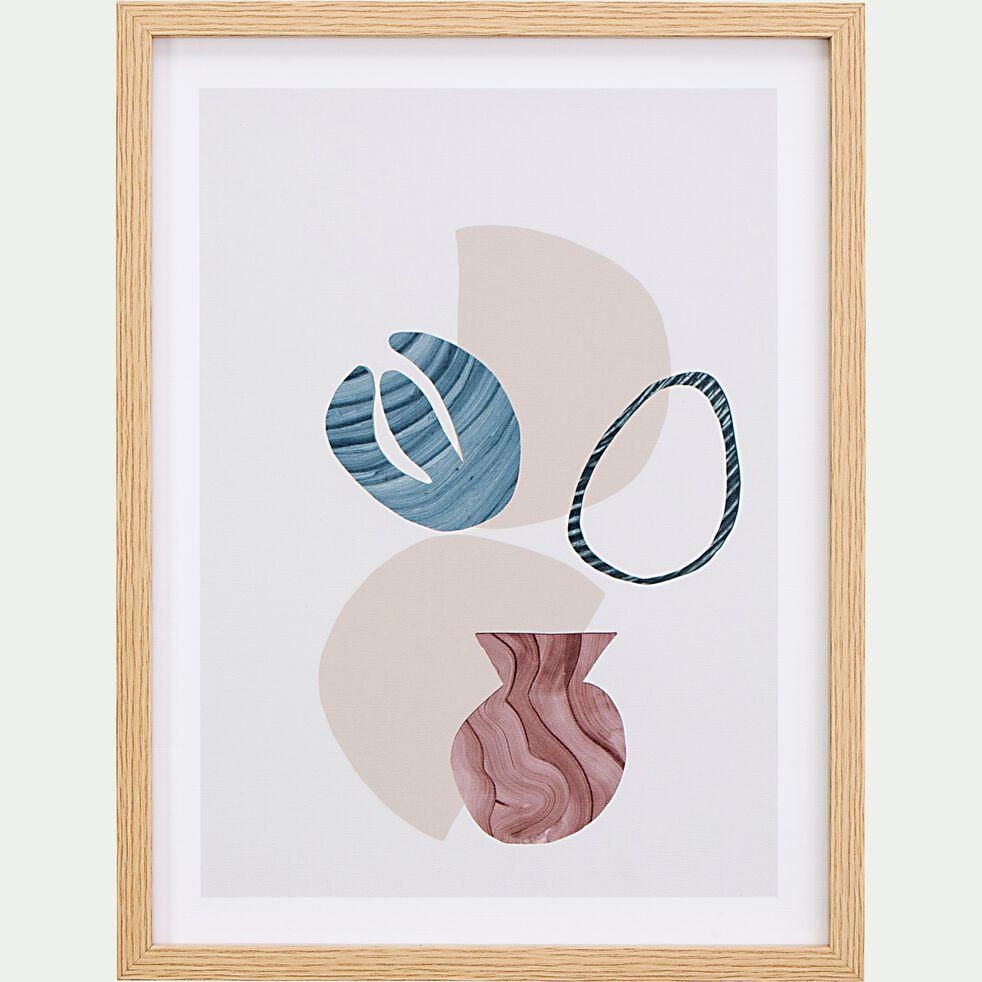 Image encadrée motif abstrait - beige 31x41cm-ALEGRANZA