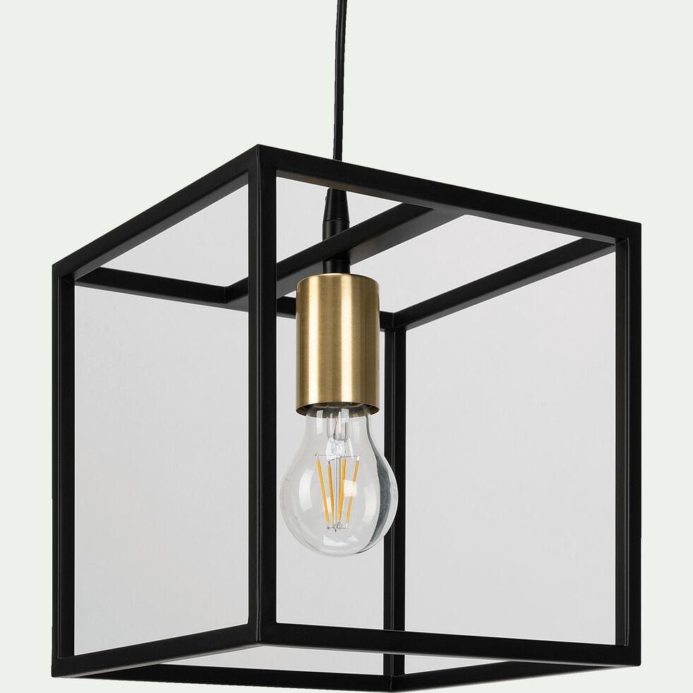 Suspension cubique en métal - noir et or mat-ROBIN