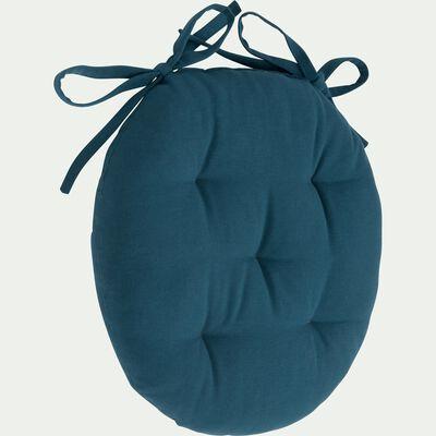 Galette de chaise ronde en coton - bleu figuerolles D40cm-CALANQUES