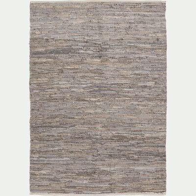 Tapis tressé en cuir et coton - gris 100x150cm-MARIELLE