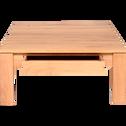 Table basse en chêne massif  avec 1 tiroir traversant 100x100cm-EMOTION