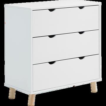 Commode 3 tiroirs Blanc-TOUDOU