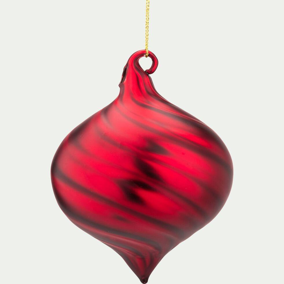 Boule de Noël en verre rouge D9cm-FINTA